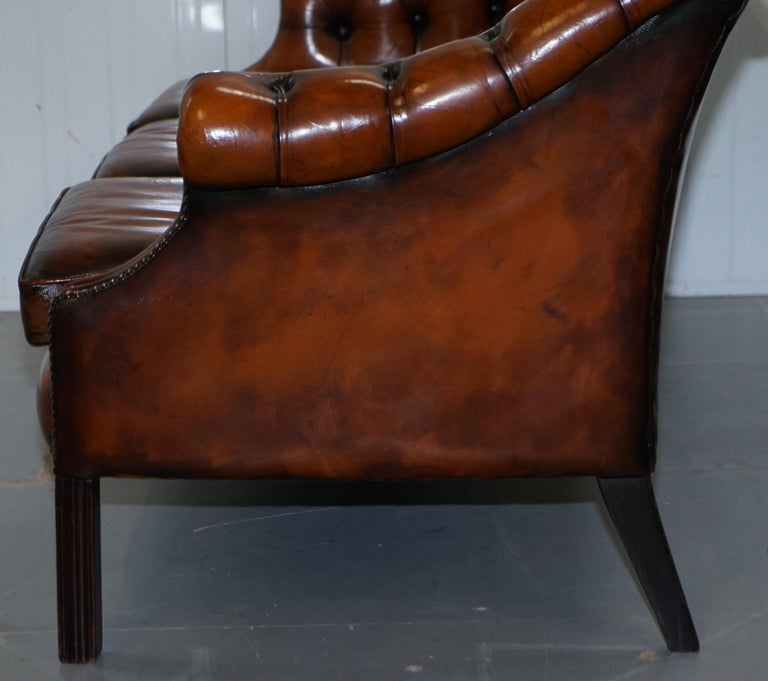Rare Fully Restored Vintage Cigar Brown Leather Chesterfield Club 3-Seat Sofa For Sale 9