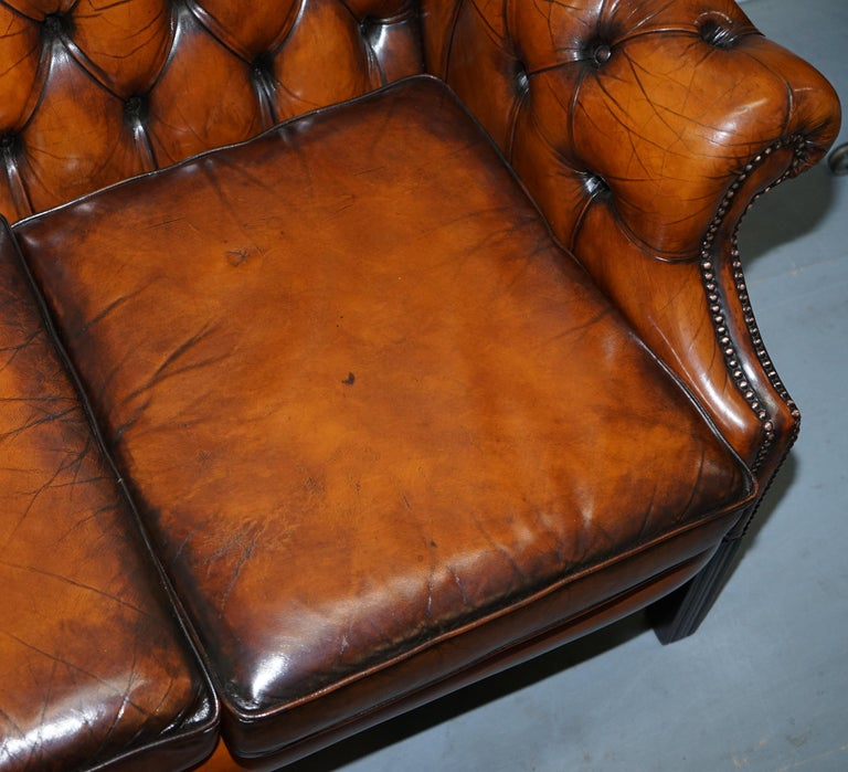 Rare Fully Restored Vintage Cigar Brown Leather Chesterfield Club 3-Seat Sofa For Sale 10