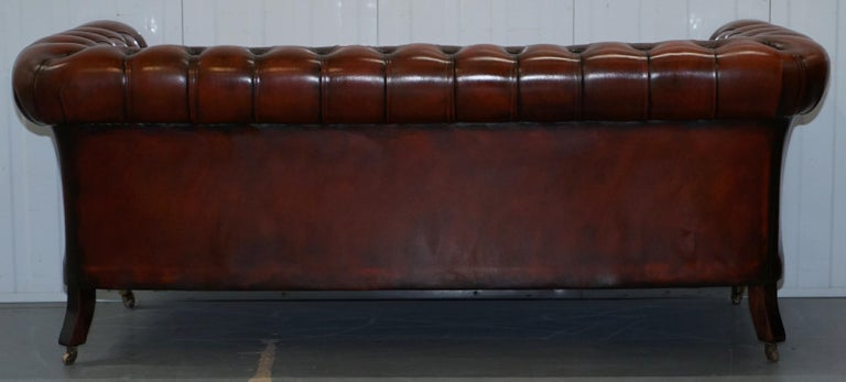 Rare Fully Restored Vintage Cigar Brown Leather Chesterfield Club 3-Seat Sofa For Sale 11
