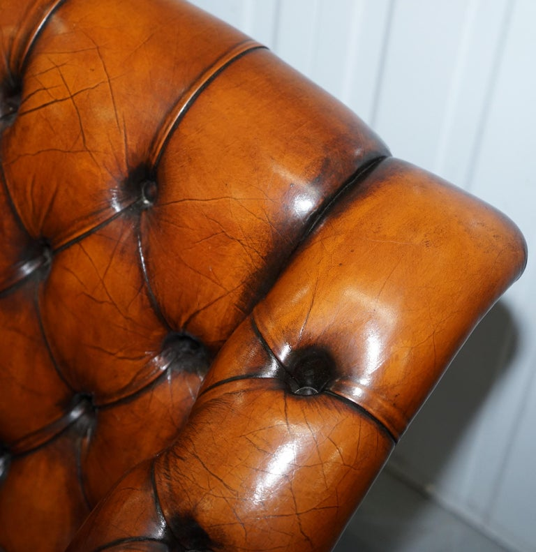 Rare Fully Restored Vintage Cigar Brown Leather Chesterfield Club 3-Seat Sofa For Sale 13