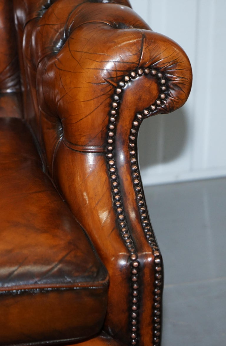 Rare Fully Restored Vintage Cigar Brown Leather Chesterfield Club 3-Seat Sofa For Sale 14