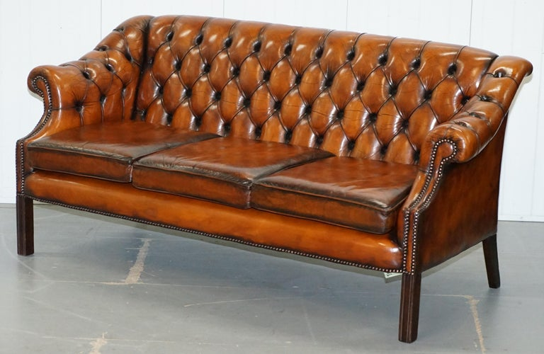 English Rare Fully Restored Vintage Cigar Brown Leather Chesterfield Club 3-Seat Sofa For Sale