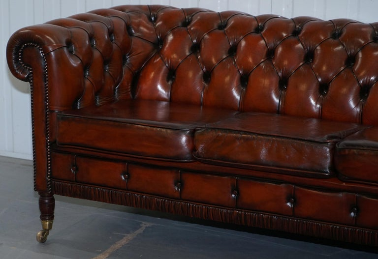 Hand-Crafted Rare Fully Restored Vintage Cigar Brown Leather Chesterfield Club 3-Seat Sofa For Sale