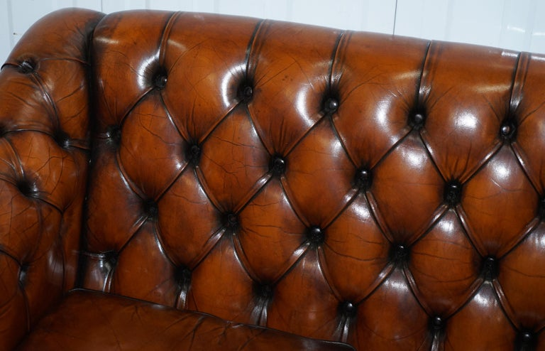 20th Century Rare Fully Restored Vintage Cigar Brown Leather Chesterfield Club 3-Seat Sofa For Sale
