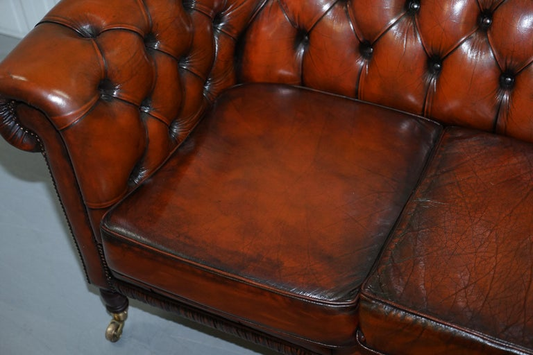 Mid-20th Century Rare Fully Restored Vintage Cigar Brown Leather Chesterfield Club 3-Seat Sofa For Sale