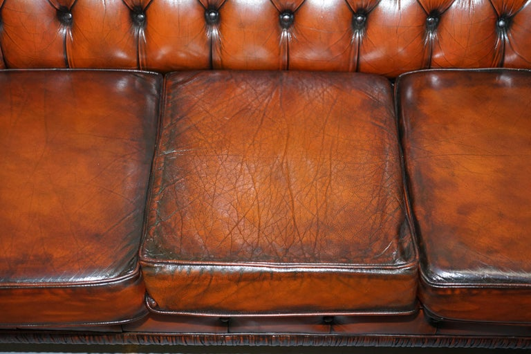 Rare Fully Restored Vintage Cigar Brown Leather Chesterfield Club 3-Seat Sofa For Sale 1