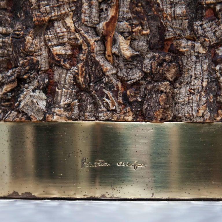 Rare Gabriella Crespi Cork Brass Ice Bucket Signed For Sale 1