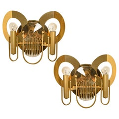 Rare Gaetano Sciolari Brass and Glass Wall Sconces, 1970s
