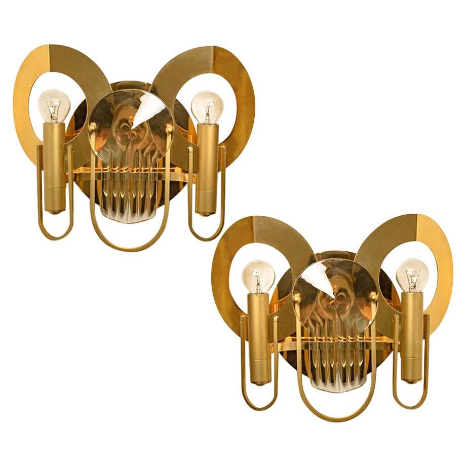 Rare Gaetano Sciolari Brass and Glass Wall Sconces, 1970s