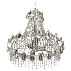 Rare Gaetano Sciolari Chrome and Beaded Crystal Chandelier