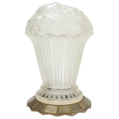 Rare Genet et Michon French Art Deco Frosted Art Glass Table Lamp Shade