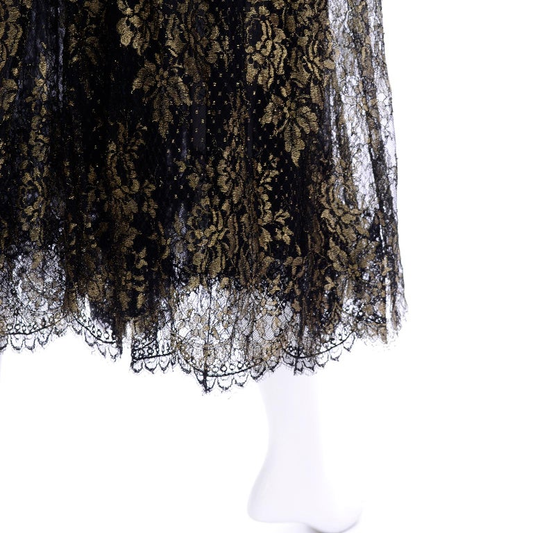 Rare Geoffrey Beene Vintage Gold Metallic & Black Lace Evening Dress For Sale 7