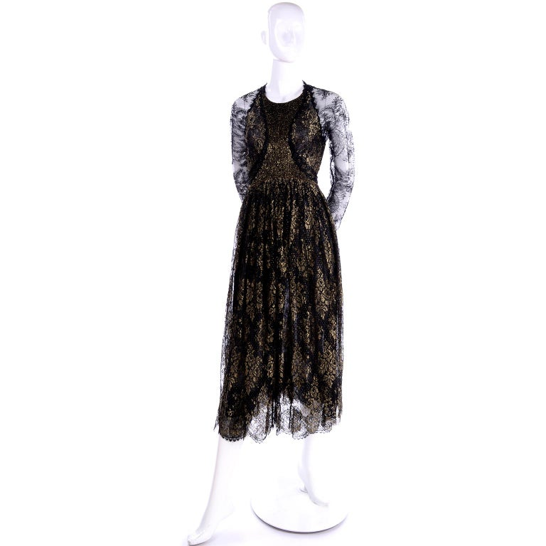 Rare Geoffrey Beene Vintage Gold Metallic & Black Lace Evening Dress In Excellent Condition For Sale In Portland, OR
