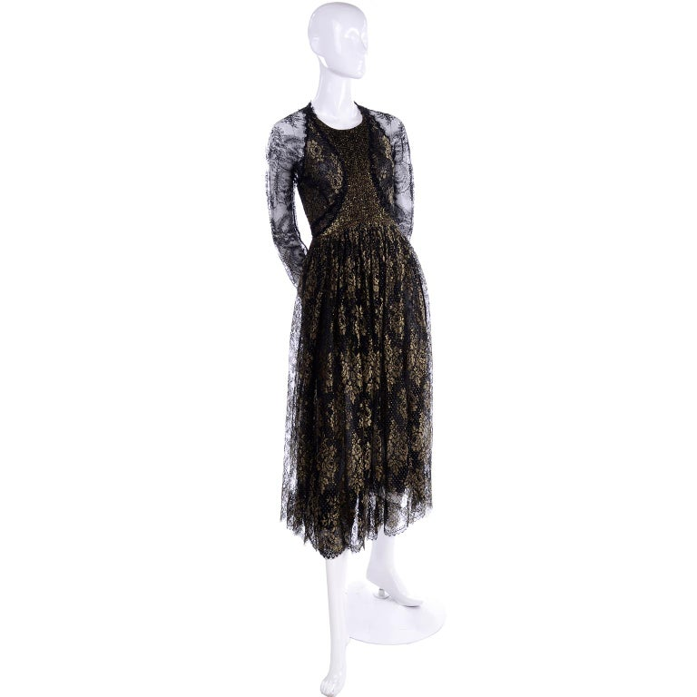 Women's Rare Geoffrey Beene Vintage Gold Metallic & Black Lace Evening Dress For Sale