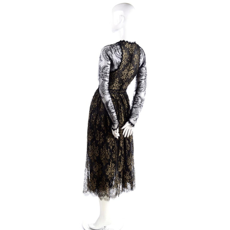 Rare Geoffrey Beene Vintage Gold Metallic & Black Lace Evening Dress For Sale 1