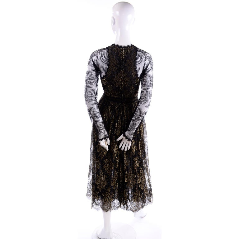 Rare Geoffrey Beene Vintage Gold Metallic & Black Lace Evening Dress For Sale 2
