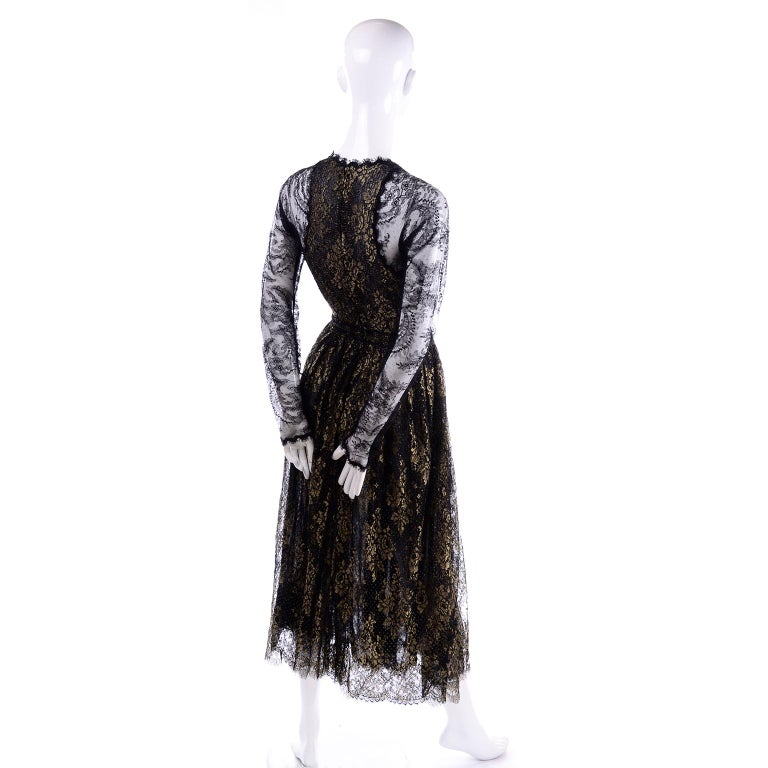 Rare Geoffrey Beene Vintage Gold Metallic & Black Lace Evening Dress For Sale 3