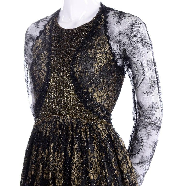 Rare Geoffrey Beene Vintage Gold Metallic & Black Lace Evening Dress For Sale 4