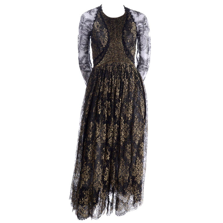 Rare Geoffrey Beene Vintage Gold Metallic & Black Lace Evening Dress For Sale