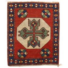 Rare Geometric Kazak Mini Size Square Rug, Early 20th Century