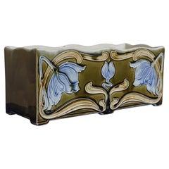 Rare Geometrical Design and Majolica Glazed Arts & Crafts Jardinière / Planter