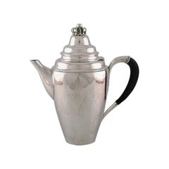Georg Jensen Coffee Pot in Sterling Silver with Ebony Handle, Dated 1915-1930