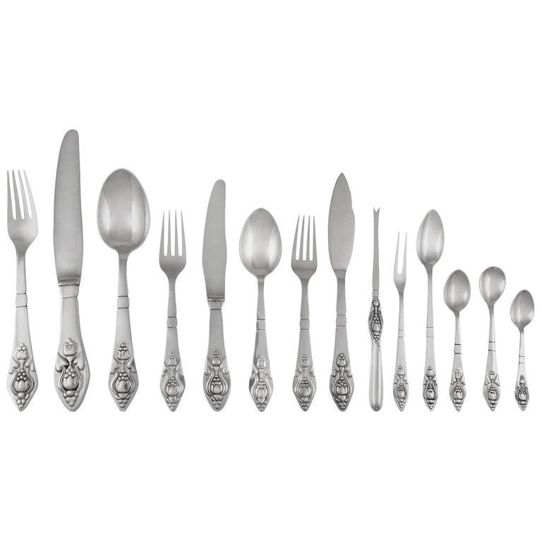 Rare Georg Jensen Complete Set Fuchsia Silverware Service For Sale