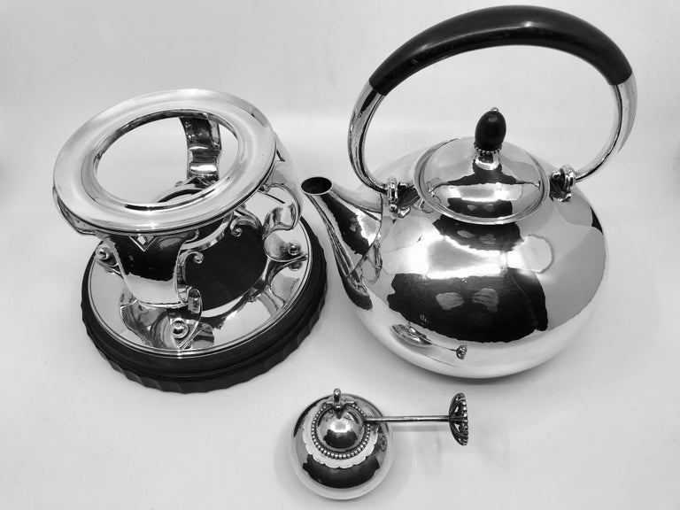 rare georg jensen hot water kettle on stand 80a for sale. Black Bedroom Furniture Sets. Home Design Ideas