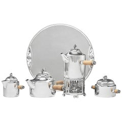 Rare Georg Jensen Paris Coffee and Tea Service with Burner and Tray 483