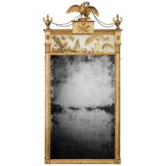 Rare George III Giltwood Mirror with Verre Eglomise Panel