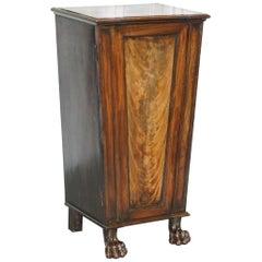 Rare George iv circa 1820s Flamed Mahogany Pedestal Cupboard Lion Paw Feet