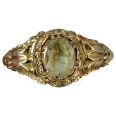 Rare Georgian 15 Carat Gold Foiled Back Rock Crystal Solitaire Ring