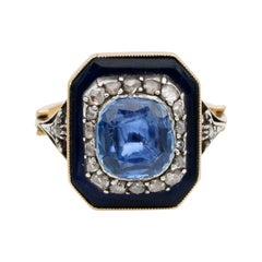 Rare Georgian 4.90 Carat Natural No Heat Sapphire Diamond Bristol Glass Ring