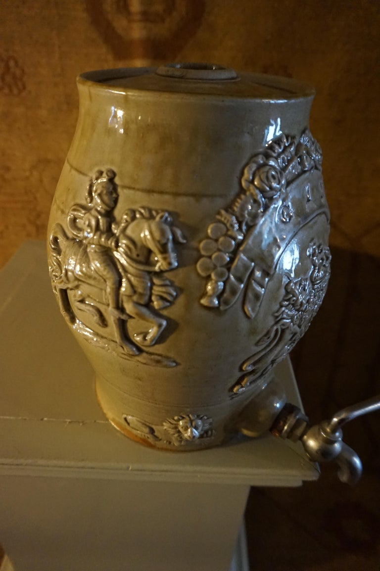 Hand-Crafted Rare Georgian Ceramic Gin Barrel Tap Flask with Royal Coat of Arms Knights Lions For Sale