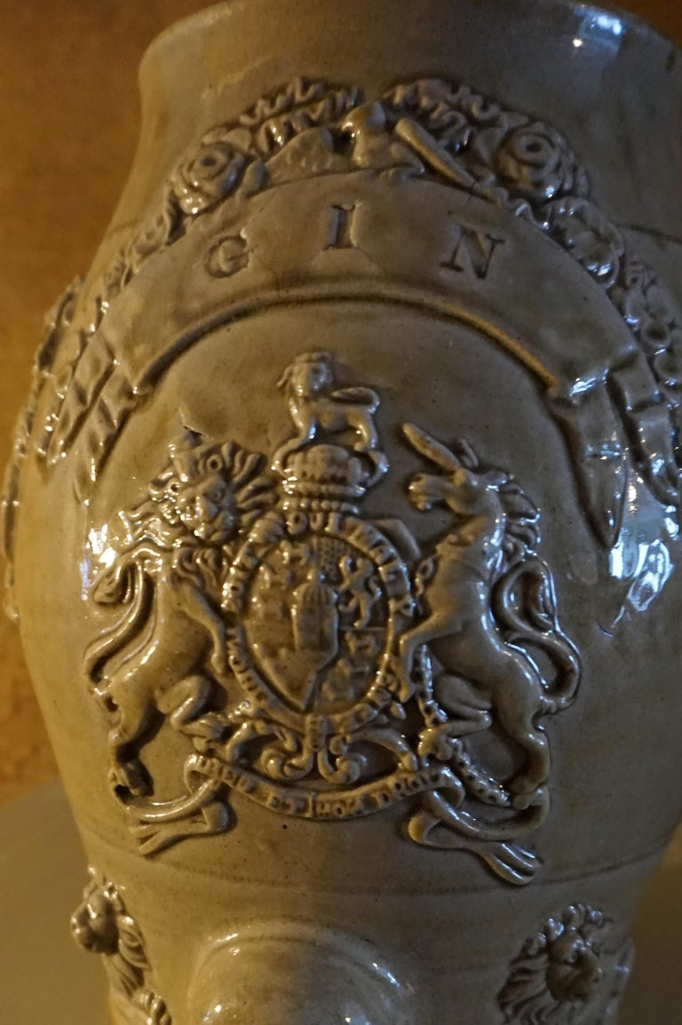 Late 18th Century Rare Georgian Ceramic Gin Barrel Tap Flask with Royal Coat of Arms Knights Lions For Sale