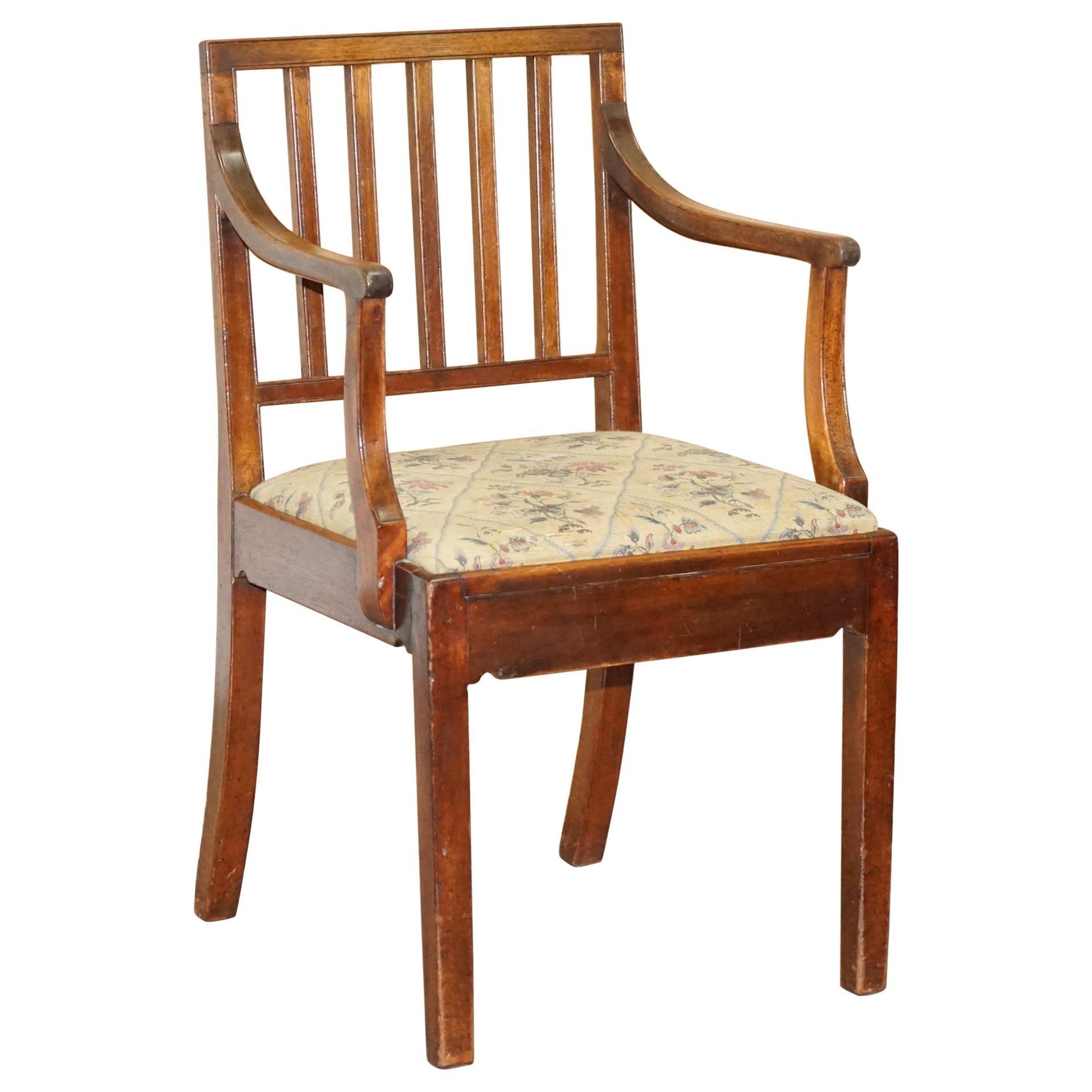 Rare Georgian circa 1760 Walnut Frame Carver Armchair Lovely Timber Patina