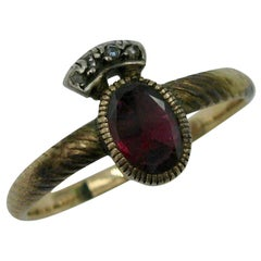 Rare Georgian Crowned Garnet Rose Cut Diamond Ring 1700s Gold Museum Quality