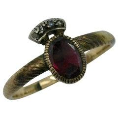Rare Georgian Crowned Garnet Rose Cut Diamond Ring 1700s Gold Museum Quality