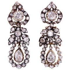 Rare Georgian Diamond Drop Earrings, circa 1810s