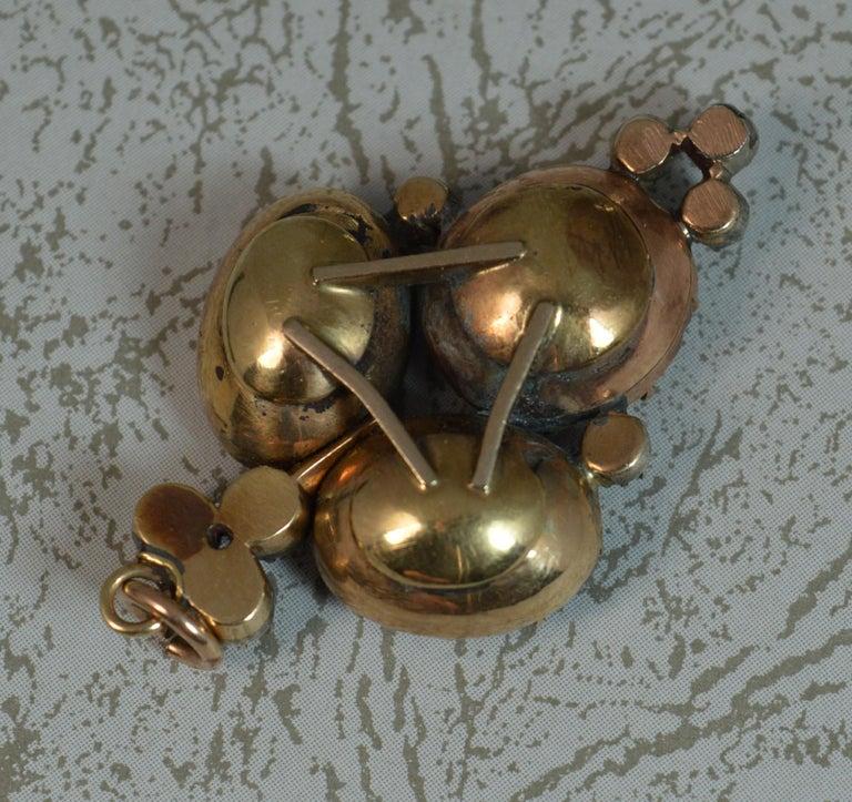 Women's Rare Georgian Foiled Amethyst and Old Cut Diamond 15 Carat Rose Gold Pendant For Sale