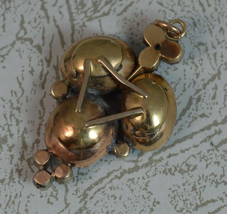 Rare Georgian Foiled Amethyst and Old Cut Diamond 15 Carat Rose Gold Pendant For Sale 1