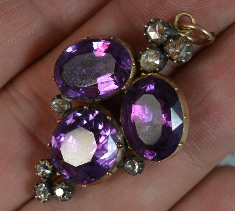 Rare Georgian Foiled Amethyst and Old Cut Diamond 15 Carat Rose Gold Pendant For Sale 4