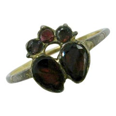 Rare Georgian Garnet Crowned Double Heart Ring 1700s Gold Museum Quality