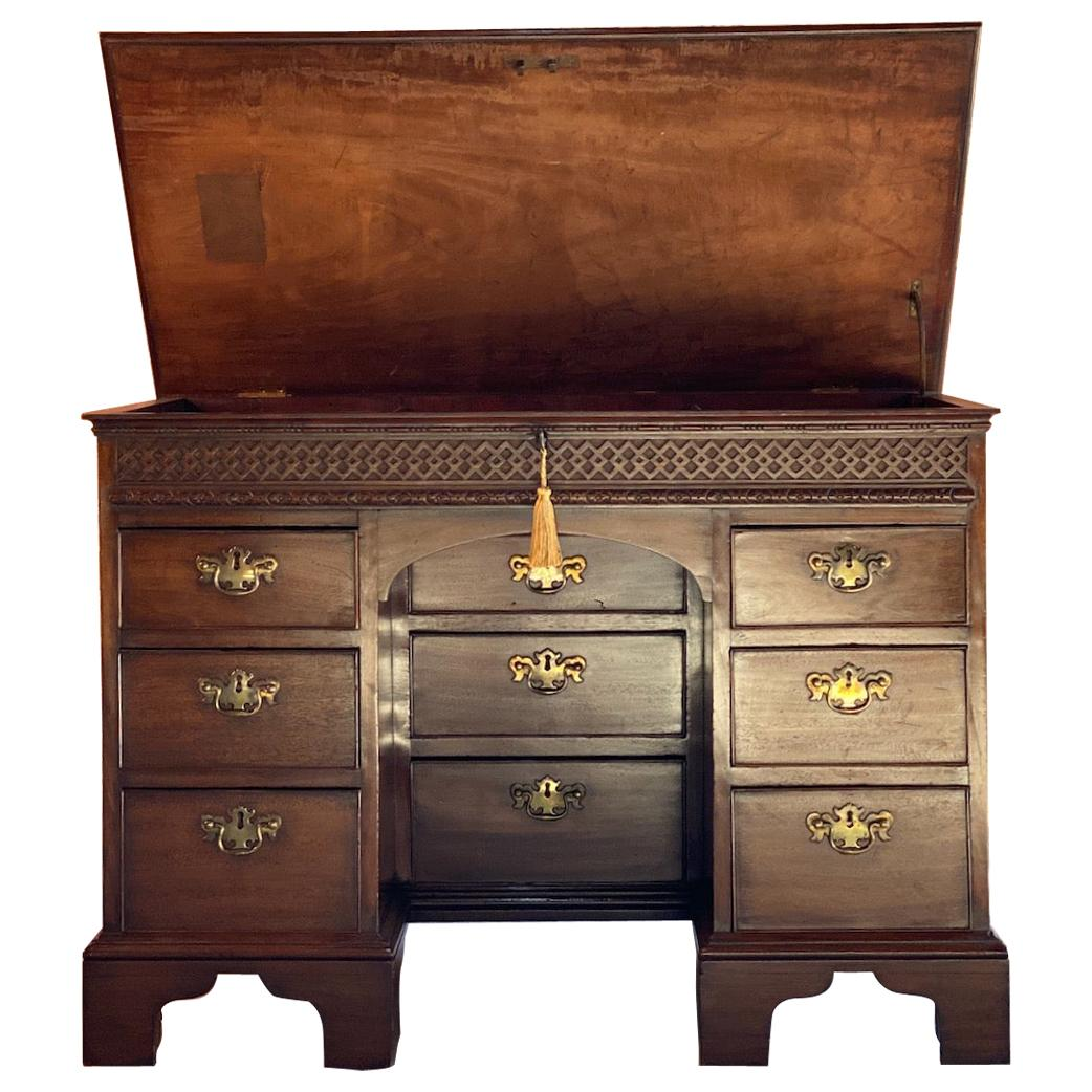 Rare Georgian Mahogany Kneehole Desk Lift Up Top, 18th Century, circa 1780