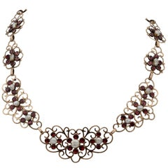 Rare Georgian Natural Pearl and Red Garnet Necklace