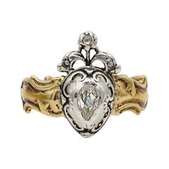 Rare Georgian Old Mine Diamond Heart 18 Karat Ring