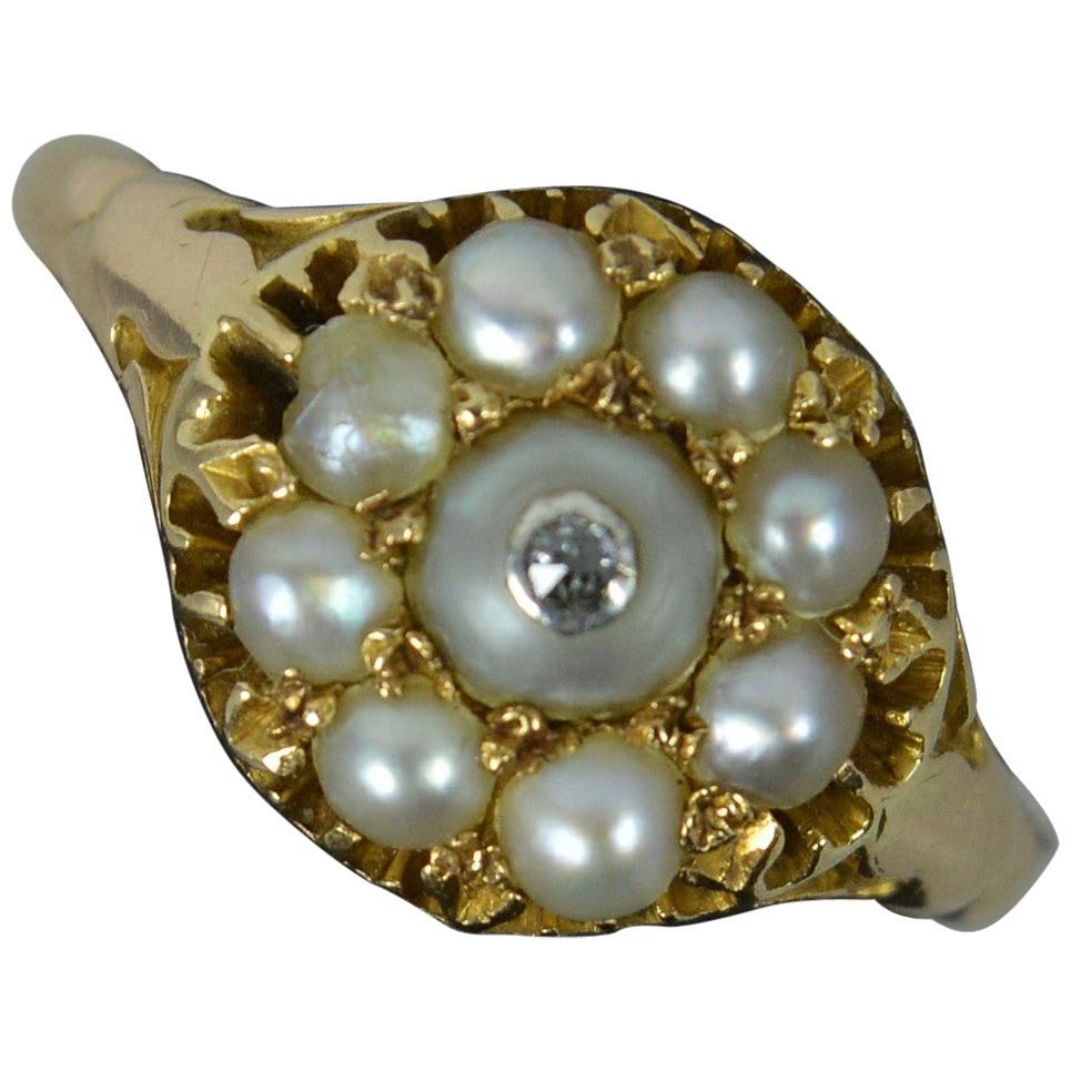 Rare Georgian Pearl and Diamond 15 Carat Gold Cluster Ring