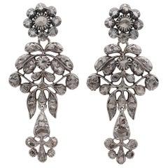 Rare Georgian/Victorian 2.80 Carat Rose Cut Diamond Long Earrings