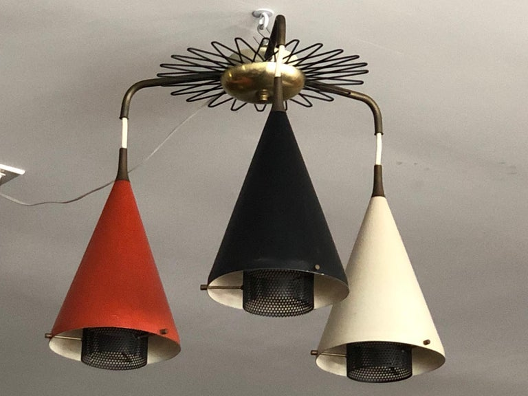 A rare chandelier by Gerald Thurston for Lightolier, circa 1950s, from the
