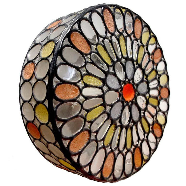Rare German Iron and Glass Ceiling or Wall Light Flush Mount by Limburg, 1960s